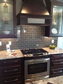 gray glass subway tile backsplash kitchens pinterest