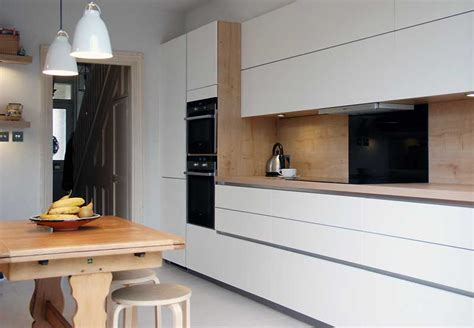 Small Area Kitchen Design by Satin White Handleless Kitchen With Oak In Tunbridge Wells