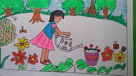 draw garden scenery step  step  kids  simple