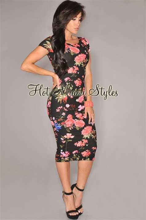 Warm Black Flower Textured Skirt 42164 black coral floral print textured midi dress