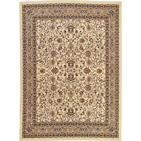 9 ft area rug unique loom kashan ivory 9 ft 10 in x 13 ft area rug 3119200 the home depot