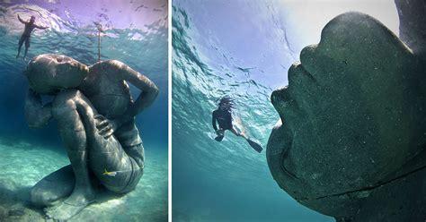 massive underwater sculpture   girl   entire