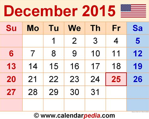 printable christmas december 2015 calendar pdf december 2015 calendars for word excel pdf