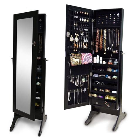 4 colors large floor standing jewelry cabinet storage box