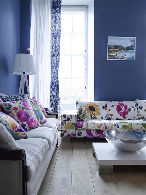 blue living room color schemes floral couch wall colors floral prints living rooms