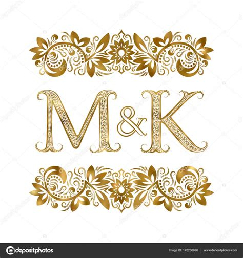 M A K m and k vintage initials logo symbol the letters are
