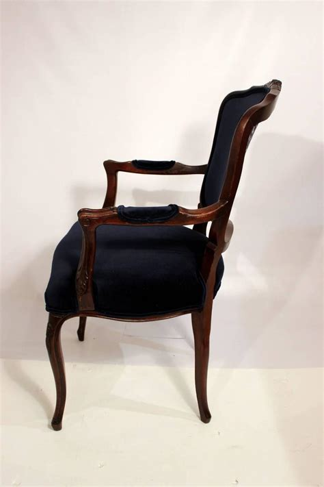 Navy Dining Room Chairs Six Dining Room Chairs With Navy Velvet And Damask Fabric For Sale At 1stdibs