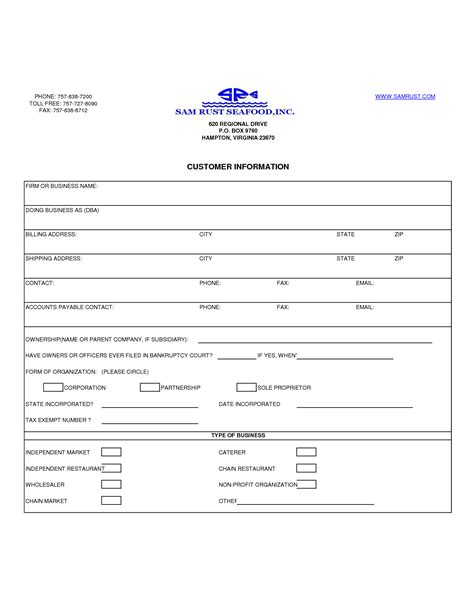 new customer account form template new customer form template 28 images doc 504676 new