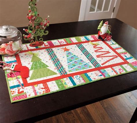 free pattern for christmas tree table runner modern quilt kit merry little christmas tree table runner