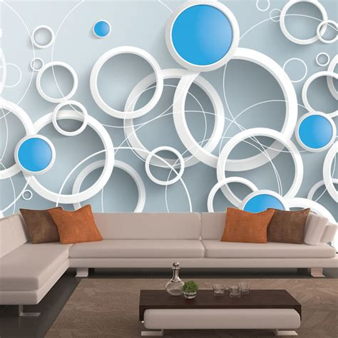 Sticker 3d Wallpaper Dinding Circle Ring 5pcs custom bedroom living room tv background wallpaper fabric wall paper 3d stereoscopic large mural