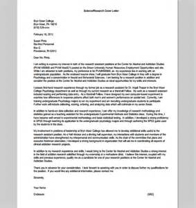 Research Psychologist Cover Letter by Cover Letter Research Assistant