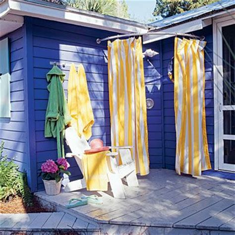 outdoor shower curtain rod our favorite outdoor showers decks beaches and corner