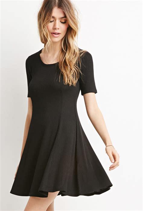 Dress Fashion Skater lyst forever 21 ribbed skater dress in black