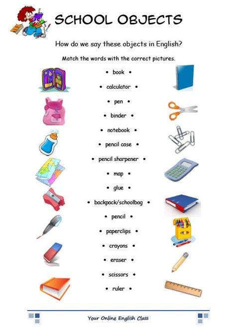printable area traduccion daily exposure to english school objects