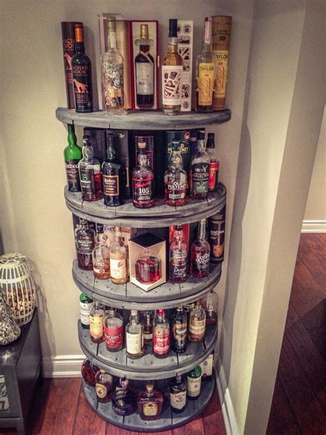 diy whisky shelf   wire spools diy pinterest