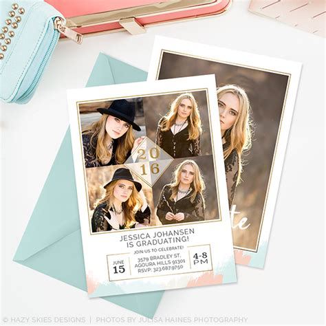 graduation announcements templates for photographers senior graduation announcement template brushed