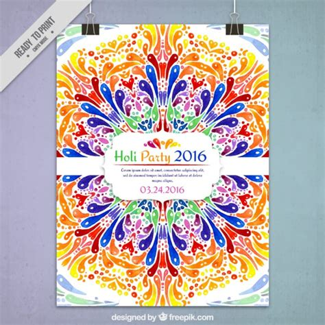 colorful posters colorful ornamental holi 2016 poster vector free