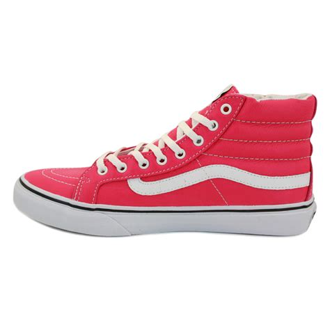 vans sk8 hi slim qg37mo womens laced neon leather trainers