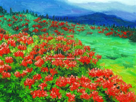 cuadros de paisaje cuadro paisaje florido obra puntillista de flores