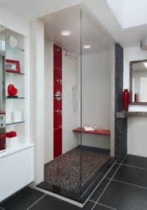 bathroom black red white: type of tile is the red and white tile in the shower and grey black