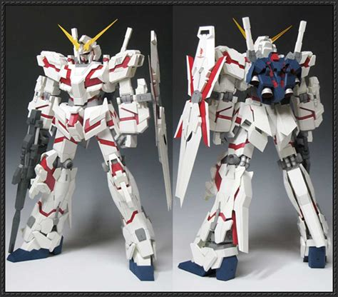 Unicorn Gundam Papercraft - destroy mode and armor mode rx 0 unicorn gundam free