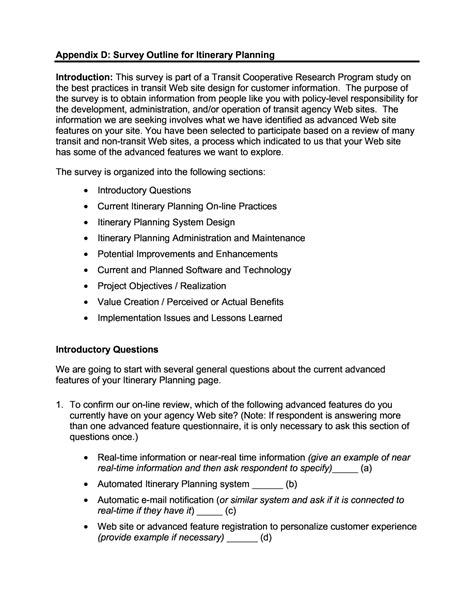 Business Letter Appendix appendix d survey outline for itinerary planning e