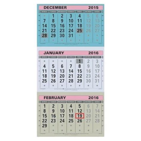 Calendar 3 Months At A Glance At A Glance Large Wall Calendar 3 Month To View 2016 Pack
