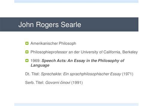 Searle 1969 Speech Acts An Essay In The Philosophy Of Language by Sprechakt Und Sprechakttheorie
