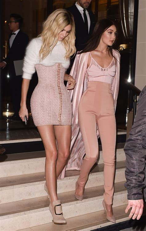 kendall jenner gigi hadid keep it chic at balmain after kendall jenner and gigi hadid in balmain after party in