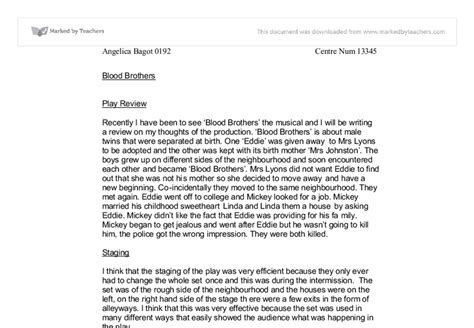 Blood Brothers Gcse Drama Essay by Blood Brothers Coursework Gcse Drama Marked By