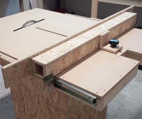 homemade table  fence mechanism woodworking table