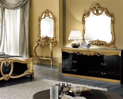 Black And Gold Bedroom Furniture Barocco Black Gold Bedroom Set