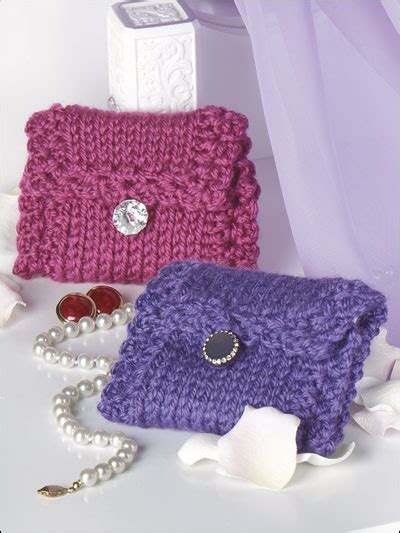 free pattern jewelry pouch knit look jewelry bag