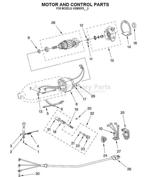 Kitchenaid Parts List Mixer Parts For Ksm90psbu Kitchenaid Mixers
