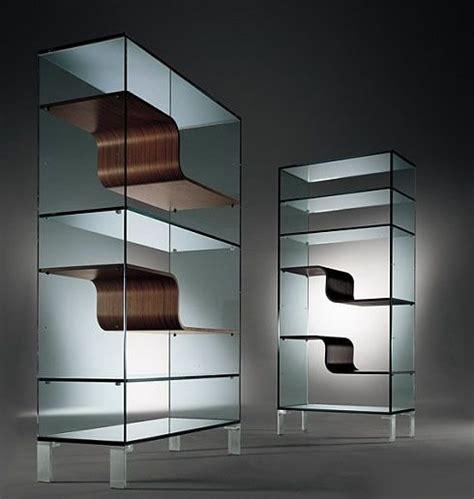 modern glass bookcase freshome