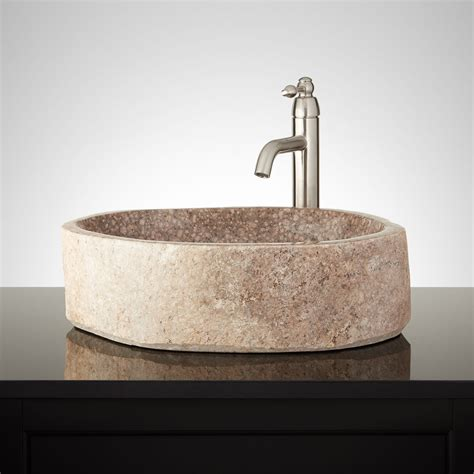 rock sinks bathroom west mancos natural river stone vessel sink bathroom