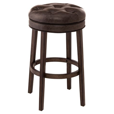 Bar Stools Backless Leather by Hillsdale Krauss Backless Swivel Counter Stool Gray Faux