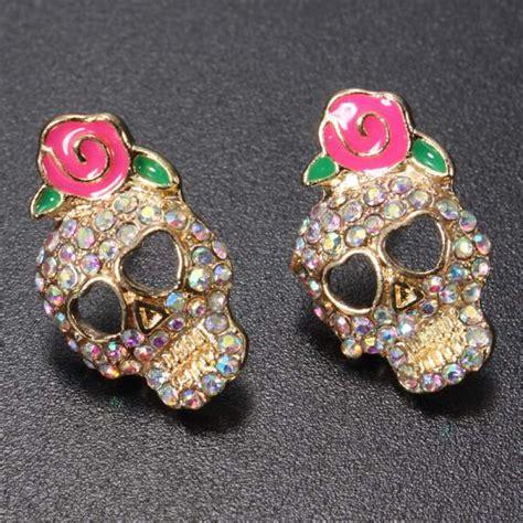Rhinestone Flower Stud Earrings buy rhinestone skull pink flower stud earrings