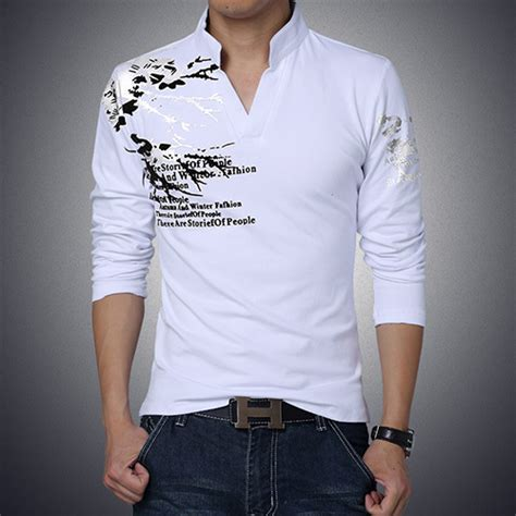 printed slim fit casual sleeve t shirt with v neck capthatt mens clothing accessories