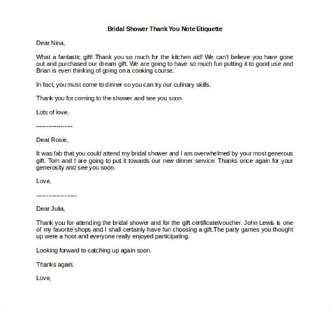 etiquette for sending thank you notes wedding gifts bridal shower thank you note 6 free word excel pdf format free premium templates