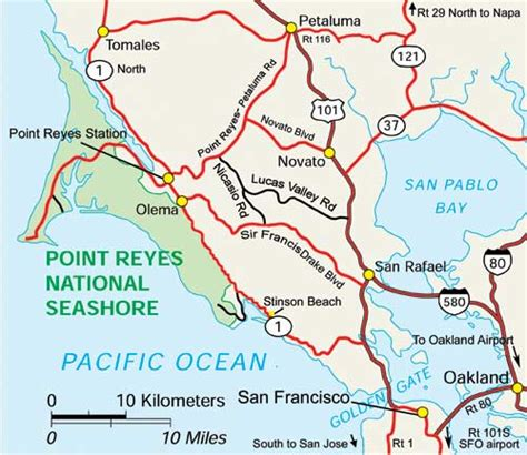 point reyes national seashore map bay view cottage point reyes california