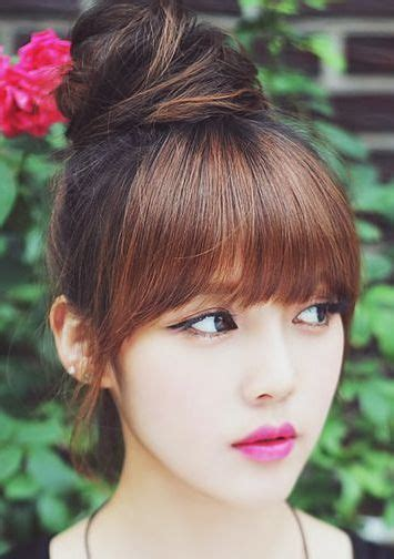 teen hairstyles for black girls bun and bang best 25 asian bangs ideas on pinterest see through