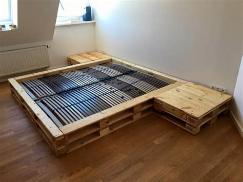 diy wood pallet bed pallet platform bed with nightstands pallet furniture diy
