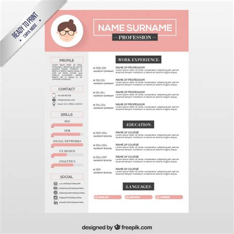 Plantillas De Curriculum Illustrator Pink Resume Template Vector Free