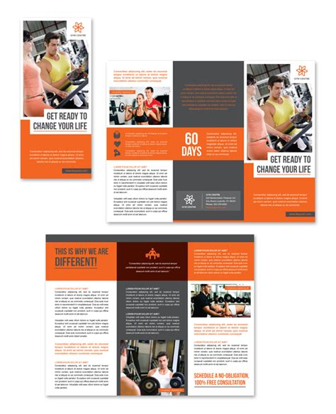 gym centre tri fold brochure template