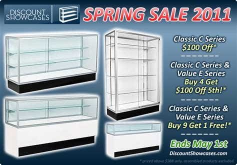 cheap glass display cabinets for sale discount showcases 2011 spring sale on display cases