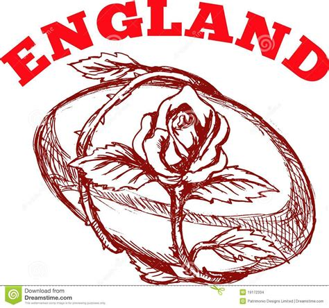 england rugby ball with english rose stock illustration