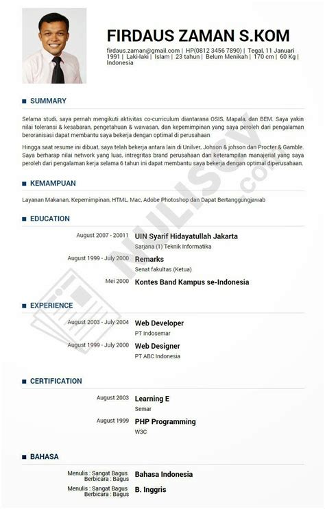 membuat website gratis bahasa indonesia cv resume resume cv bahasa indonesia