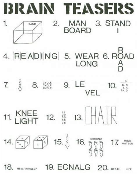 knee light brain teaser brain teasers can you find the hidden meanings