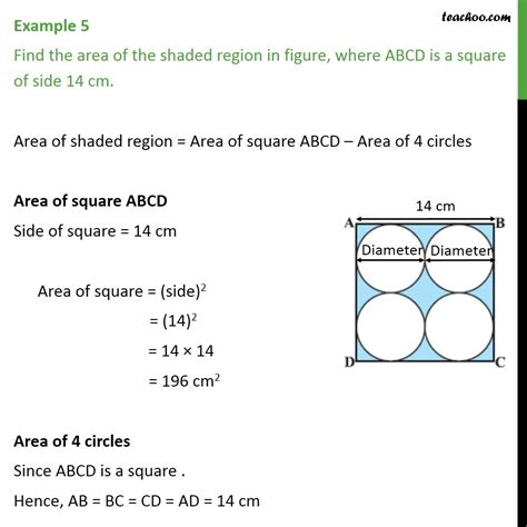 Find Around Exle 5 Find Area Of Shaded Region Abcd Is A Square